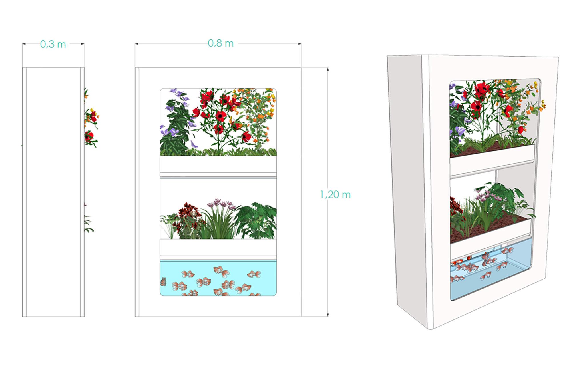 mini harmonia produit AURA dimensions aquaponie agriculture urbaine indoor hors-sol